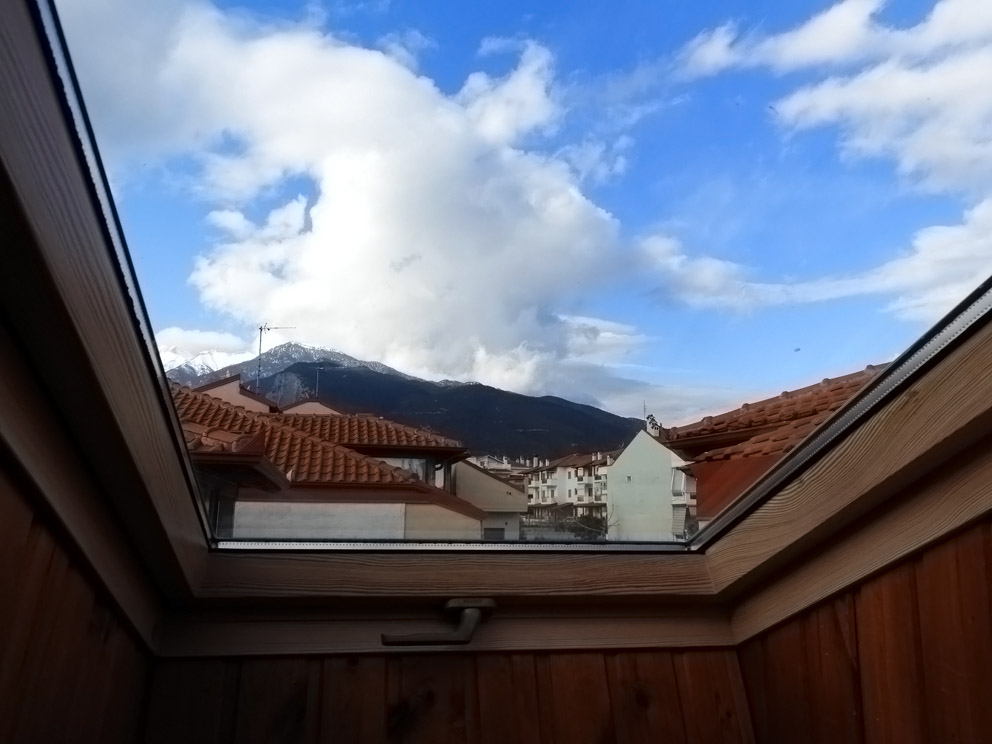 View to the Olympus Mt. tops from the bedroom's window